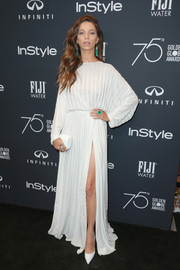 Angela Sarafyan looked airy in a loose white Mario Dice gown at the Golden Globes 75th anniversary celebration.