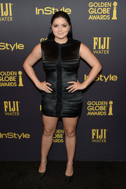 Ariel Winter opted for a ribbed satin LBD when she attended the HFPA and InStyle Golden Globe Award season celebration.