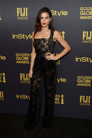Jenna Dewan-Tatum sizzled in a sheer black jumpsuit by Zuhair Murad at the HFPA and InStyle Golden Globe Award season celebration.
