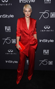 Serinda Swan cut a sophisticated figure in a scarlet satin pantsuit by Styland at the Golden Globes 75th anniversary celebration.