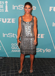 Lori Loughlin looked fabulous in strappy silver sandals. The heels were the perfect shoe choice for a sequined tank dress.