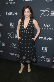 Rachel Bloom amped up the elegance with a pair of silver Tamara Mellon Frontline sandals.