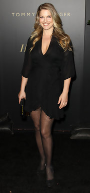 Ali Larter wore black suede platform pumps over sheer striped tights at The Hollywood Reporters Big 10 party.