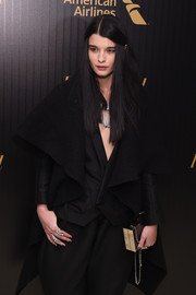 Crystal Renn accessorized her dark outfit with a pair of gold statement rings for the 2016 35 Most Powerful People in Media event.