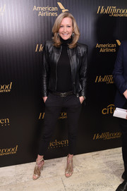 Lara Spencer looked perfectly put together in black cigarette pants and a leather jacket at the Hollywood Reporter's 35 Most Powerful People in Media event.