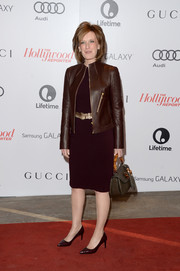 Anne Sweeney looked flawless in her monochromatic leather jacket and sheath combo at the Women in Entertainment Breakfast.