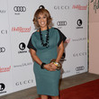 Gayle King in Teal and Snakeskin