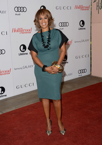 Gayle King looked breezy and chic in a blue and black dress during the Women in Entertainment Breakfast.