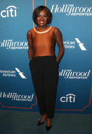 Viola Davis kept it simple yet smart in a tricolor jumpsuit by Max Mara at the Hollywood Reporter 5th Annual Nominees Night.