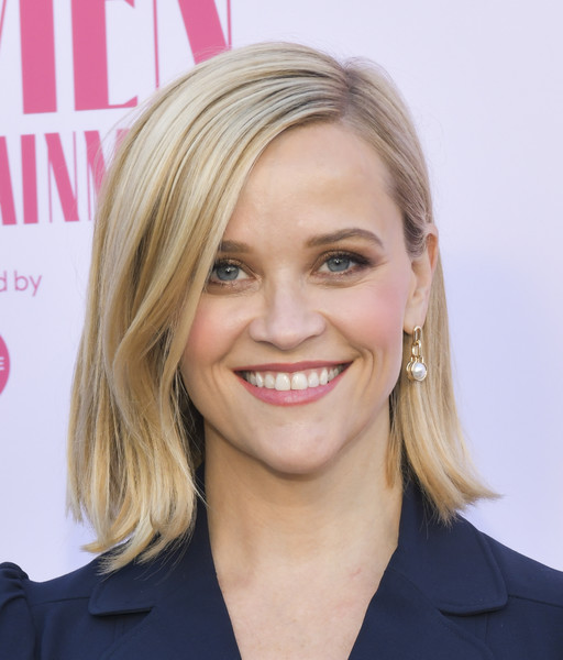 More Pics of Reese Witherspoon Flip (4 of 12) - Shoulder Length Hairstyles Lookbook - StyleBistro [the hollywood reporter,hair,face,blond,hairstyle,eyebrow,chin,lip,head,beauty,layered hair,arrivals,reese witherspoon,hollywood,california,hollywood reporter,milk studios,annual women in entertainment breakfast gala]
