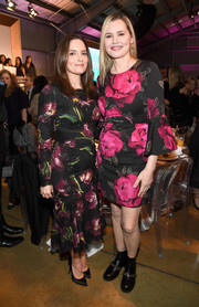 Tina Fey was all abloom in a lace-accented floral dress by Dolce & Gabbana at the Hollywood Reporter's Women in Entertainment Breakfast.