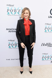 Vera Farmiga went conservative in a black pantsuit teamed with a red pussybow blouse at the Hollywood Reporter's Women in Entertainment Breakfast.