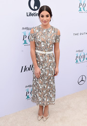 Lea Michele complemented her dress with nude mesh-panel pumps by Giuseppe Zanotti.