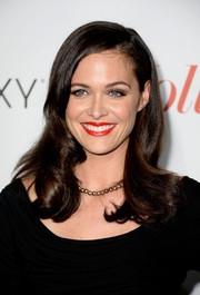 Christine Woods wore a retro-glam wavy 'do when she attended the Hollywood Reporter Emmy party.