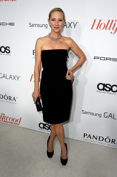 Anne Heche looked effortlessly elegant in a strapless LBD during the Hollywood Reporter Emmy party.