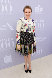 Lena Dunham's MSGM fringed skirt and paisley blouse combo were a fun and vibrant pairing!