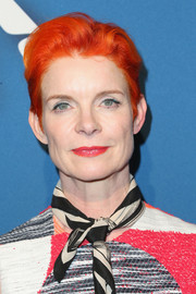 Sandy Powell attended the Hollywood Reporter Oscar nominees night wearing a cool orange fauxhawk.