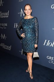Penelope Ann Miller wore this blue beaded cocktail dress to the Oscar nominees luncheon in Hollywood.