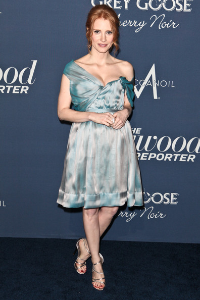 More Pics of Jessica Chastain Pearl Ring (4 of 14) - Decorative Rings Lookbook - StyleBistro [dress,clothing,shoulder,cocktail dress,fashion model,hairstyle,premiere,fashion,joint,footwear,red carpet,jessica chastain,getty house,los angeles,california,hollywood reporter,the hollywood reporter,nominees night 2012,a celebration of the 84th annual academy awards,a celebration]