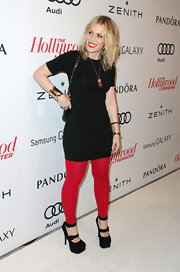 Natasha Bedingfield's red leggings brought a pop of color to her rocker look at the 2013 Hollywood Reporter's Nominees' Night.