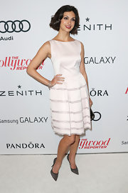 Morena Baccarin looked ladylike in this blush cocktail dress at the Hollywood Reporter Nominees' Night.