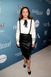 Diane Lane paired a white pussybow blouse with a black leather pencil skirt for the Hollywood Reporter's Power 100 Women in Entertainment event.