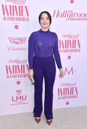 Sophia Bush kept it casual in a purple turtleneck by Dorothee Schumacher at the Hollywood Reporter's Power 100 Women in Entertainment celebration.