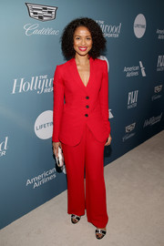 Gugu Mbatha-Raw chose a bright red pantsuit for the Hollywood Reporter's Power 100 Women in Entertainment event.