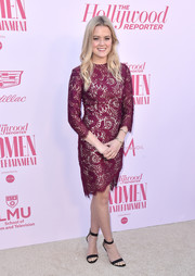 Ava Phillippe looked mature and ladylike in a burgundy lace sheath dress at the Hollywood Reporter's Power 100 Women in Entertainment celebration.