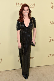 Megan Mullally shimmered in a black paillette jumpsuit at the Hollywood Reporter and SAG-AFTRA Emmy nominees night.
