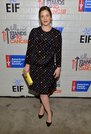 Drew Barrymore sheathed her baby bump in a multicolored polka-dot dress by Giulietta for the Hollywood Stands Up to Cancer event.
