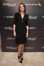 Savannah Guthrie chose chic black lace-up pumps to complete her look.