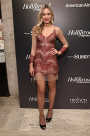Katrina Bowden bared lots of flesh at the 35 Most Powerful People in Media event in a red and nude mini dress with a sheer hem and sleeves.