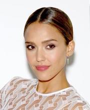 Jessica Alba stuck to classic styling with this center-parted chignon during the launch of Honest Beauty.