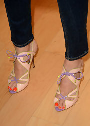 Jessica Alba's look was fun and flirty with these pastel strappy sandals.