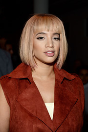 Dascha Polanco went through a hair transformation for the Houghton fashion show, going from long and dark to this blonde bob with blunt bangs.