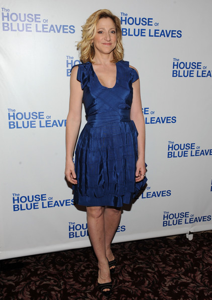 Edie Falco was in New York City last night for the opening night of The House of Blue Leaves. Edie dressed for the theme in a shining cobalt cocktail dress.