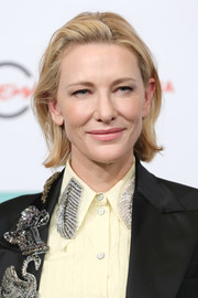 Cate Blanchett wore her hair in a messy bob at the Rome Film Fest photocall for 'The House with a Clock in Its Walls.'