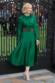 Cate Blanchett looked ladylike in a long-sleeve green midi dress with ruffle detailing at the world premiere of 'The House with a Clock in Its Walls.'