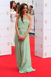 Michelle Keegan kept it simple on the red carpet in a mint-green House of Fraser Label Lab gown during the British Academy Television Awards.
