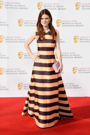 Rose Leslie glammed it up in a boldly striped gown by Emilia Wickstead at the House of Fraser BAFTA TV Awards.
