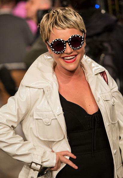 Jamie Winstone showed off some of her quirky style with black and white polka dot sunglasses at London Fashion Week.