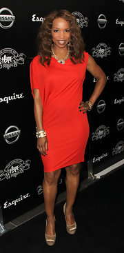 Elise Neal donned a draped red hot dress for the House of Hype's VMA after party.