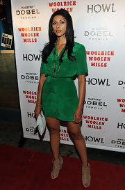 Reshma Shetty's nude peep-toe ankle boots were a tough-looking addition to her ensemble at the 'Howl' screening.