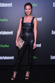 Jamie Chung punctuated her black outfit with an animal-print clutch.