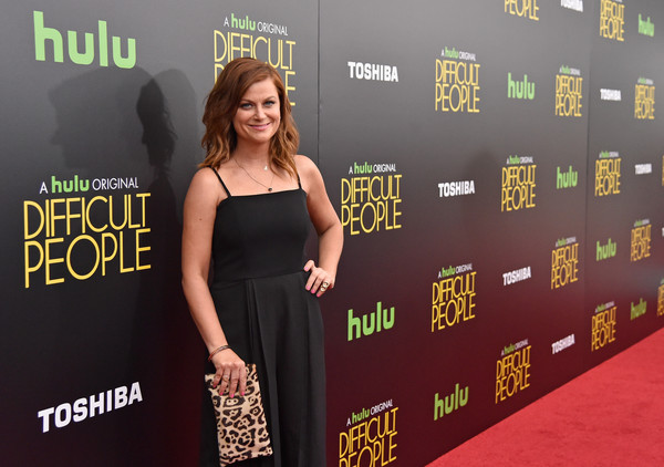 More Pics of Amy Poehler Jumpsuit (10 of 18) - Amy Poehler Lookbook - StyleBistro [difficult people premiere,red carpet,carpet,premiere,flooring,dress,fashion,little black dress,event,style,amy poehler,actress,hulu,new york city]