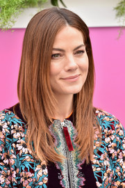 Michelle Monaghan kept her beauty look low-key with a swipe of nude lipstick.