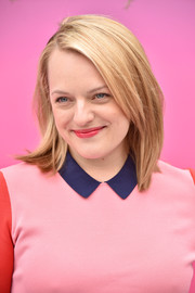Elisabeth Moss wore her hair in a neat lob at the Hulu Upfront brunch.