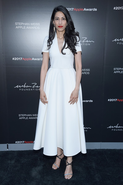 Huma Abedin Midi Dress [clothing,white,dress,fashion model,shoulder,fashion,cocktail dress,hairstyle,premiere,formal wear,stephan weiss apple awards,new york city,huma abedin]