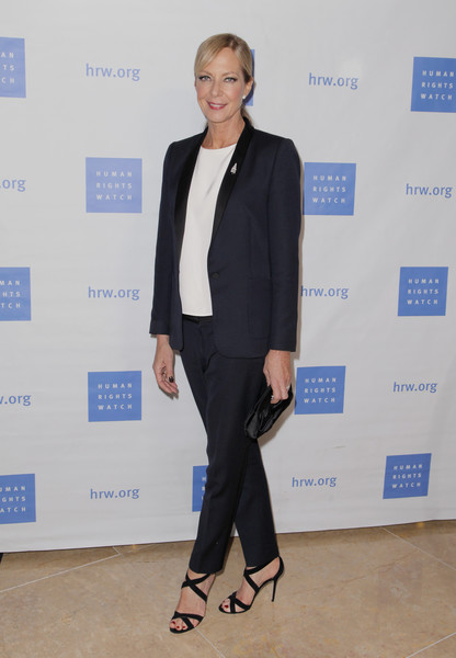 Allison Janney kept it simple in a navy pantsuit at the Voices for Justice dinner.